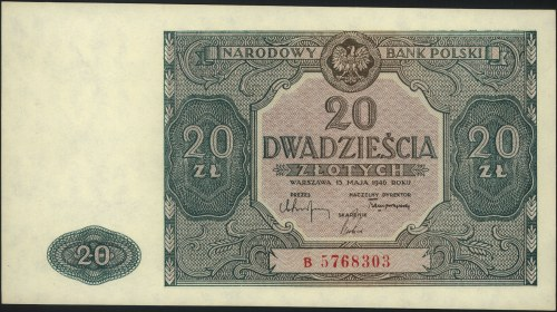 20 złotych 15.05.1946, seria B, Miłczak 127a, piękne