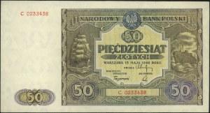 50 złotych 15.05.1946, seria C, Miłczak 128a, pięknie z...
