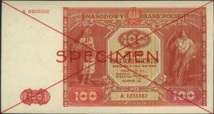 100 złotych 15.05.1946, WZÓR, seria A 1234567 / A890000...