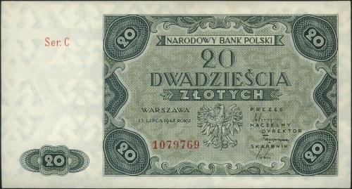 20 złotych 15.07.1947, seria C, Miłczak 130, piękne