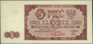5 złotych 1.07.1948, seria D, Miłczak 135a, piękne