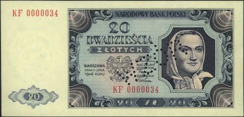 20 złotych 1.07.1948, perforacja WZÓR, seria KF 0000034...