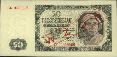50 złotych 1.07.1948, nadruk WZÓR, seria CG 0000006, Mi...