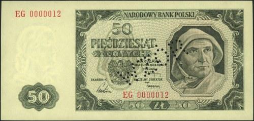 50 złotych 1.07.1948, perforacja WZÓR, seria EG 0000012...