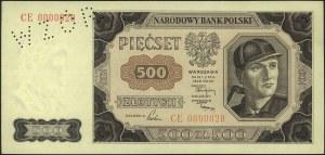 500 złotych 1.07.1948, perforacja WZOR, seria CE 000002...