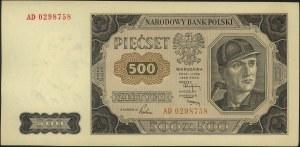 500 złotych 1.07.1948, seria AD, Miłczak 140bb, pięknie...