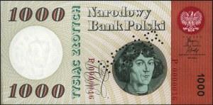 1.000 złotych 29.10.1965, perforacja WZÓR, seria P 0000...