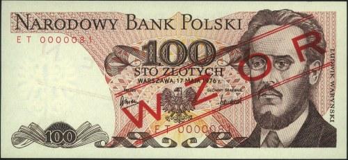100 złotych 17.05.1976, nadruk WZÓR, seria ET 0000081, ...