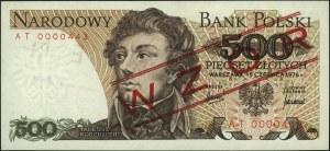 500 złotych 15.06.1976, nadruk WZÓR, seria AT 0000443, ...