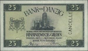 25 guldenów 1.10.1928, jednostronny wzór strony głównej...