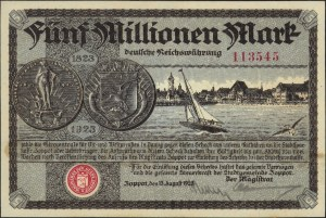 Sopot, 5.000.000 marek 13.08.1923, numeracja 6-cio cyfr...