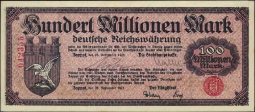 Sopot, 100.000.000 marek 28.09.1923, numeracja 6-cio cy...