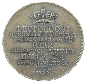żeton 1790, wybity z okazji objęcia przez Leopolda II w...