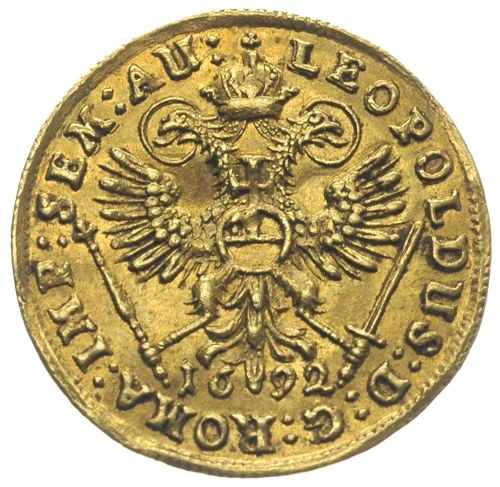 dukat 1692 z tytulaturą Leopolda I, złoto 3.45 g, Fr. 1...
