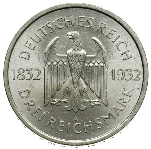 3 marki 1932 / A, Berlin, 100-lecie śmierci Johanna Wol...