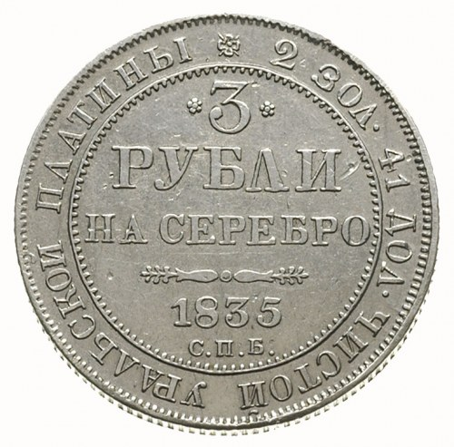 3 ruble 1835, Petersburg, platyna 10.23 g, Bitkin 81, r...
