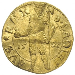 Zygmunt Batory 1581-1602, dukat 1592, Nagybanya, złoto ...