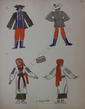 """Zofia Stryjeńska (1894-1976), Z teki """"Polish Peasants costumes"""", pl. 12(Copyright by C. Szwedzicki, 1939)"""