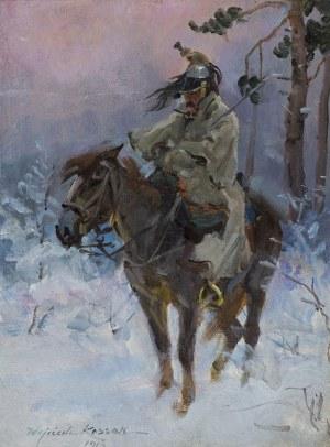 Kossak Wojciech, KIRASJER W ZIMOWEJ ZADYMCE, 1912