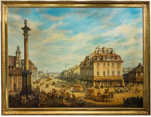 Dariusz Szybiński (1955 Warszawa - 2008), Krakowskie Przedmieście od kolumny Zygmunta, ok. 1990 r., wg. Bernardo Bellottiego zw. Canaletto