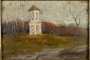 Bronisława Rychter-Janowska (1868 Kraków - 1953 tamże), Pejzaż z kapliczką, 1920 r.