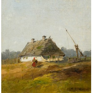 Władysław Rutkowski-Bończa (1842 Twierdza Modlin k. Nowego Dworu Mazowieckiego – 1905 Staroźreby k. Płocka), Przed chatą, k. XIX w.
