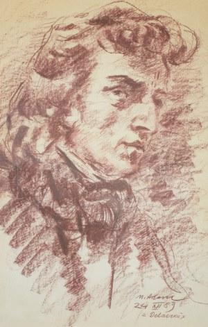Marian Adamczyk (ur. 1938 r. Karczmiska), Portret Fryderyka Chopina, wg Eugène a Delacroix, 1989 r.