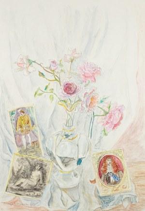 Maja Berezowska (1893 lub 1898 Baranowicze-1978 Warszawa), Róże w wazonie, 1966 r.