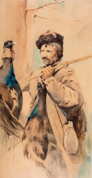 Julian Fałat (1853 Tuligłowy - 1929 Bystra), Myśliwy z głuszcami, ok. 1891 r.