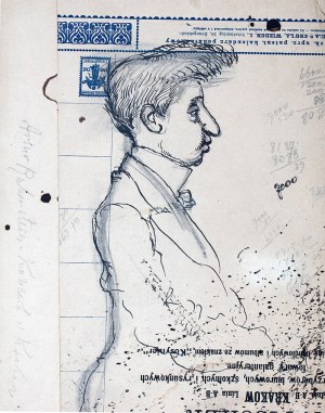 Józef Mehoffer (1869 Ropczyce k. Lwowa - 1946 Wadowice), Karykatura Artura Rubinsteina, 1916 r.
