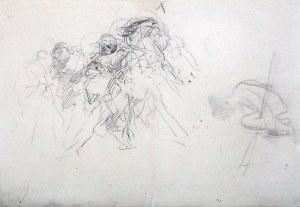 Jacek Malczewski (1854 Radom - 1929 Kraków), Szkic sceny batalistycznej (konnej), szkic postaci siedzącej, ok. 1879 ?