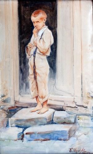 Jan Kazimierz Olpiński (1878 Lwów-1936 tamże), Portret chłopca, 1925 r.