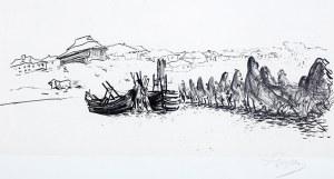 Leon Wyczółkowski (1852 Huta Miastkowska k. Garwolina - 1936 Warszawa), Wieś rybacka, z Teki ukraińskiej, 1912 r.