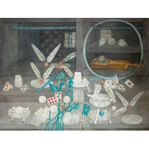 Kiejstut Bereźnicki (ur. 1935 Poznań) - Martwa natura z zabawkami w tonacji perłowej (Gry i zabawy I), 1994