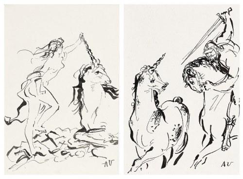 Antoni UNIECHOWSKI (1903-1976), Para prac: Jednorożec i dziewczyna; Polowanie na jednorożca;