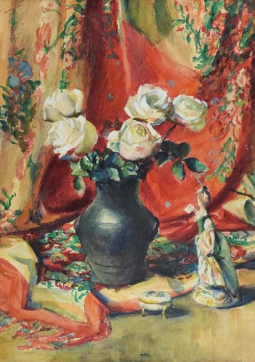 Teodor GROTT (1884-1972), Martwa natura z różami i figurką porcelanową