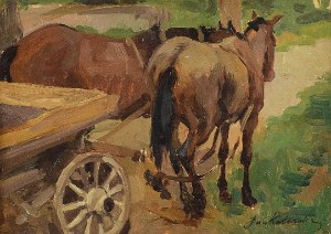 Jan KOTOWSKI (1885-1960), Wóz z końmi