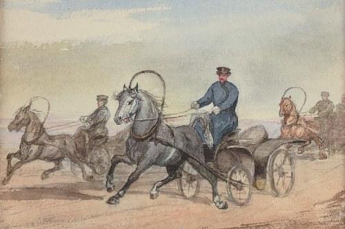 Maksymilian OBORSKI (1809-1878) ?, Obraz dwustronny: Jadą wozy oraz Pejzaż z rzeką