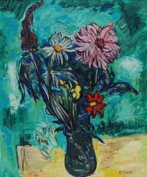 Isis KISCHKA (1908-1973), Dalie na zielonym tle, 1961