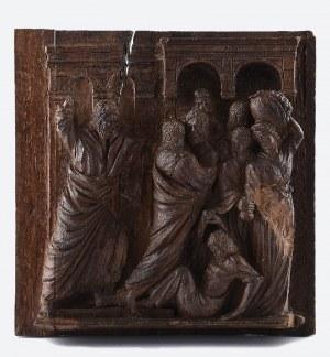 Scena biblijna - Chrystus wypędzający przekupniów ze świątyni