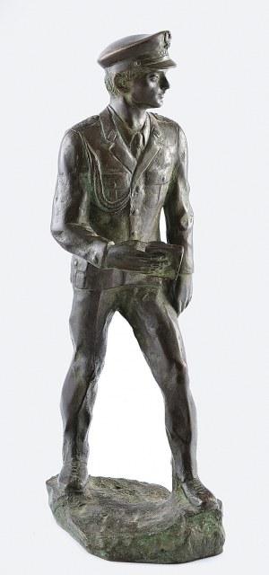 Jan WITKE (1913-1992) - odlewnik, C. NOWICKI - rzeźbiarz, Figura porucznika Milicji Obywatelskiej