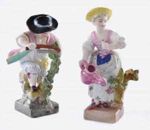 Michael Victor ACIER (1736-1799) - model, Manufaktura Porcelany w Miśni, Para figurek z serii: Dzieci - ogrodnicy: ogrodniczka z konewką i ogrodnik przycinający piłą konar drzewka