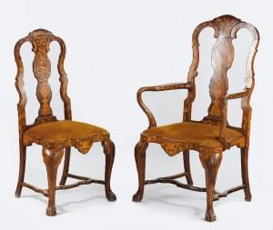 Fotel i krzesło intarsjowane, w manierze holenderskiego baroku