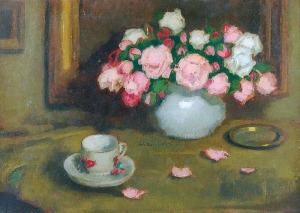 Alfons KARPIŃSKI (1875-1961), Róże i filiżanka
