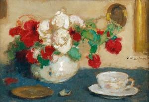 Alfons KARPIŃSKI (1875-1961), Czerwone i białe róże w wazonie