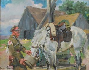 Wojciech KOSSAK (1856-1942), Ułan pojący konia, 1928