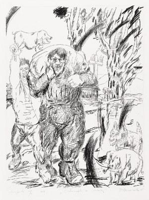 Edward DWURNIK (1943-2018), Człowiek ze świnią, 1985