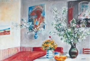 Aneri Irena Weissowa (1888-1981), Wnętrze mieszkania artystki z kwiatami i portretem Wojciecha Weissa