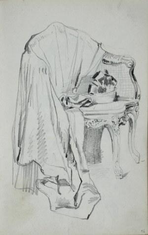 Stanisław Kaczor Batowski (1866-1945), Płaszcz damski leżący na rokokowym fotelu