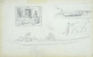 Stanisław Chlebowski (1835-1884), Szkice obrazów w miniaturze - scena rodzajowa i pejzaż z łodzią na rzece oraz łodzi z postaciami
